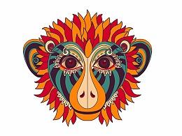 艾菲尔品牌logo设计猴子插画名族风时尚主题餐饮标志