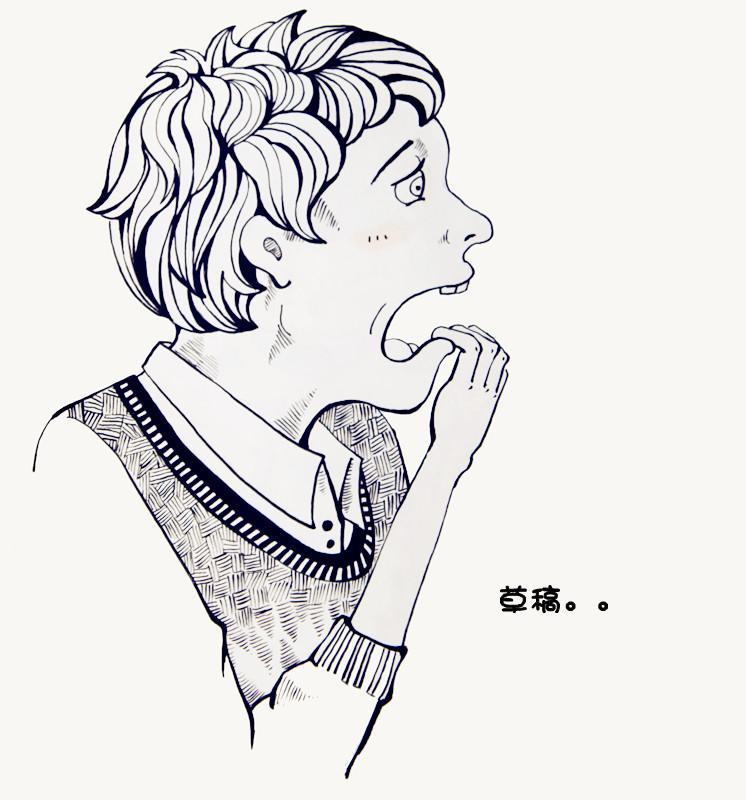 建议黑白手绘插画