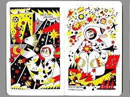 想要像胡安·米罗那样画--绘画本子里的三色星空