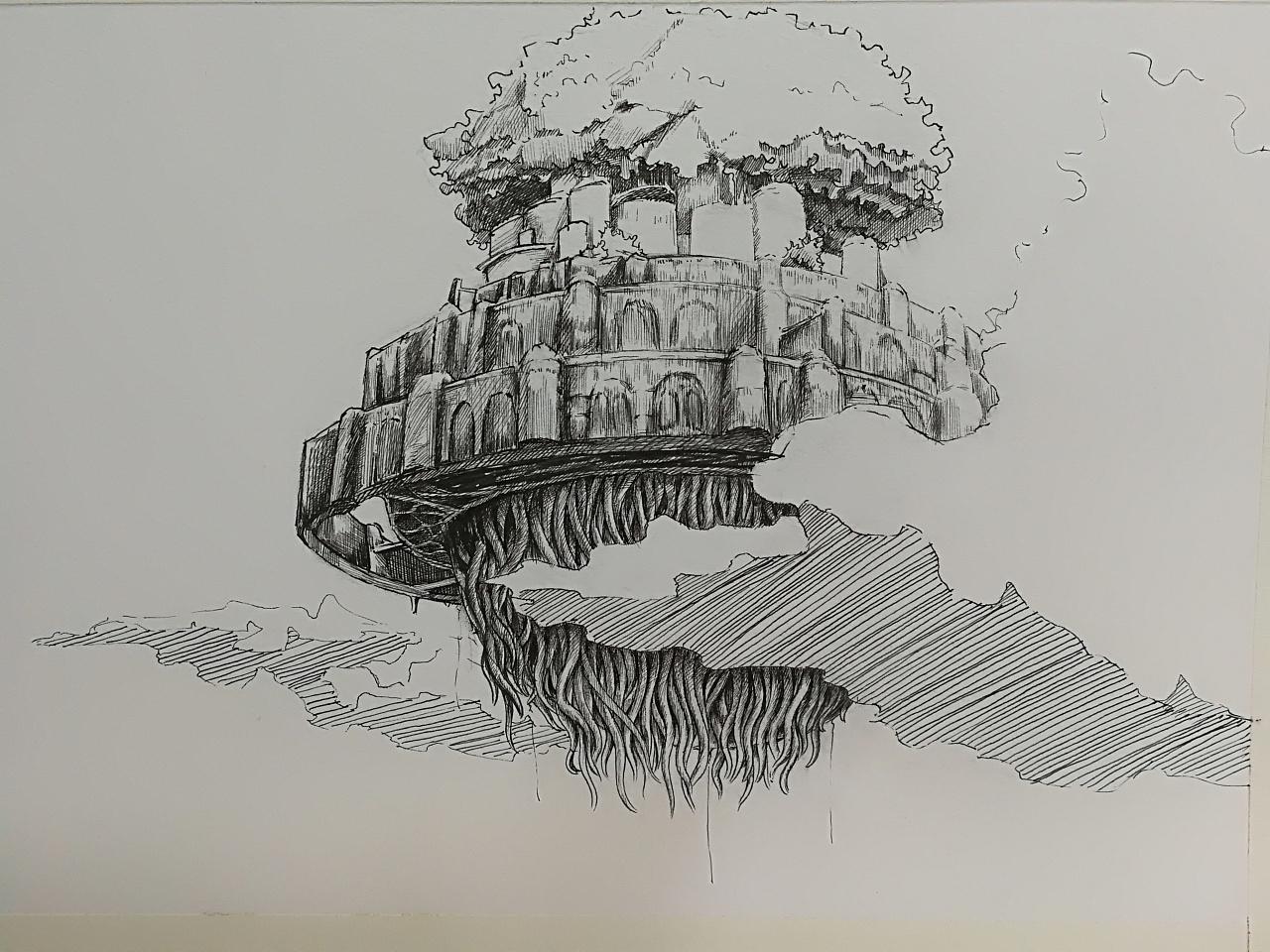 天空之城钢笔手绘