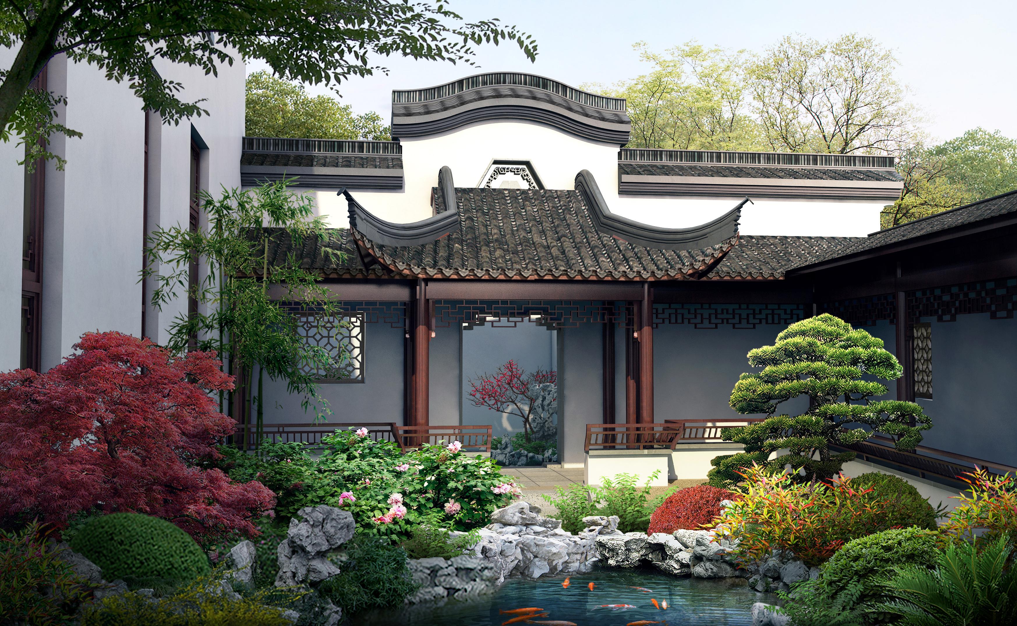 中式园林别墅亮化图片