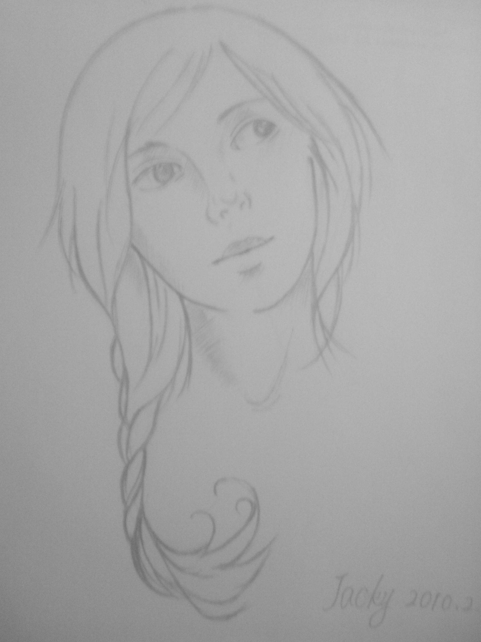 铅笔画,女孩