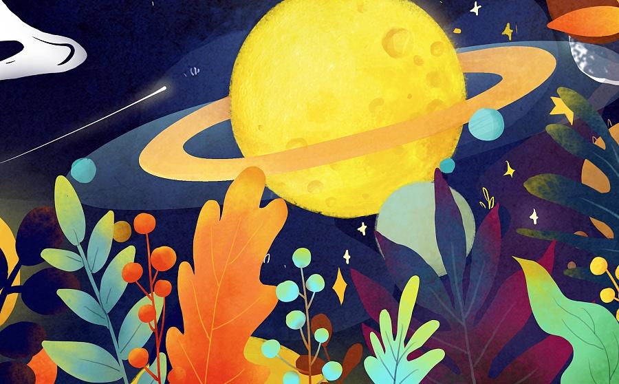幻想星球 gif插画动态化