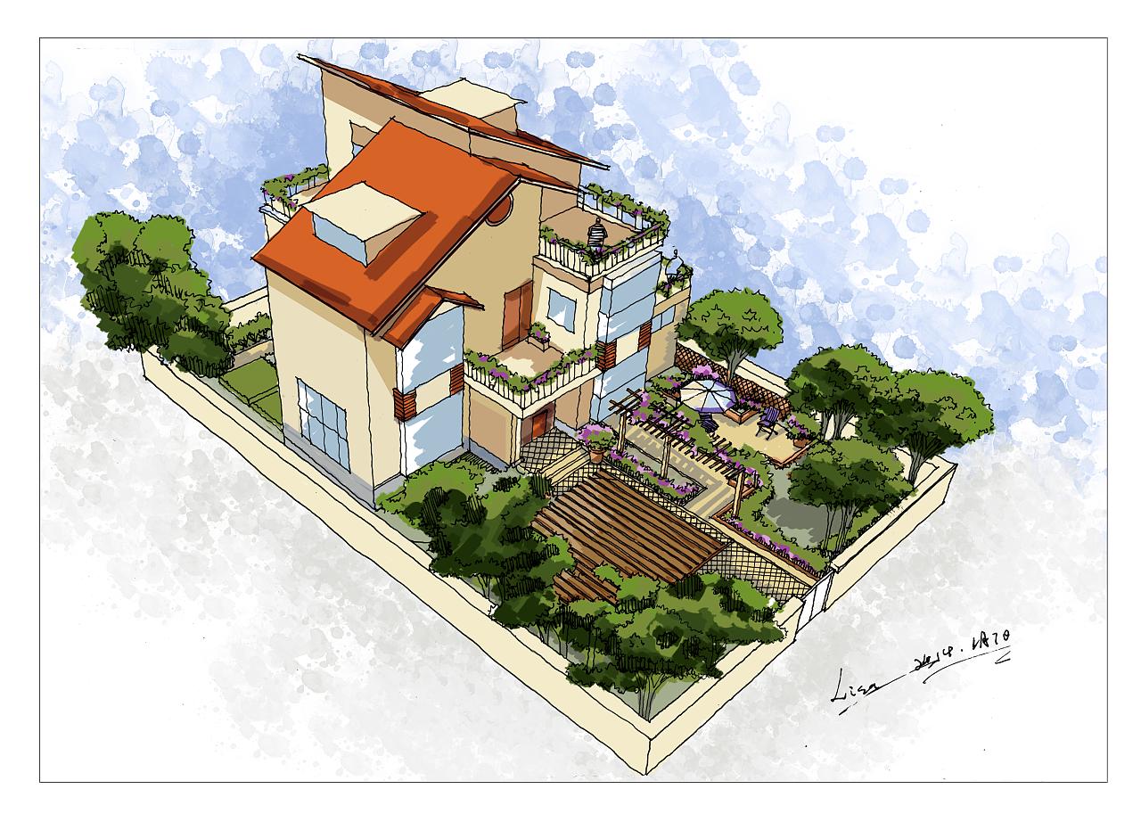 别墅小院-手绘