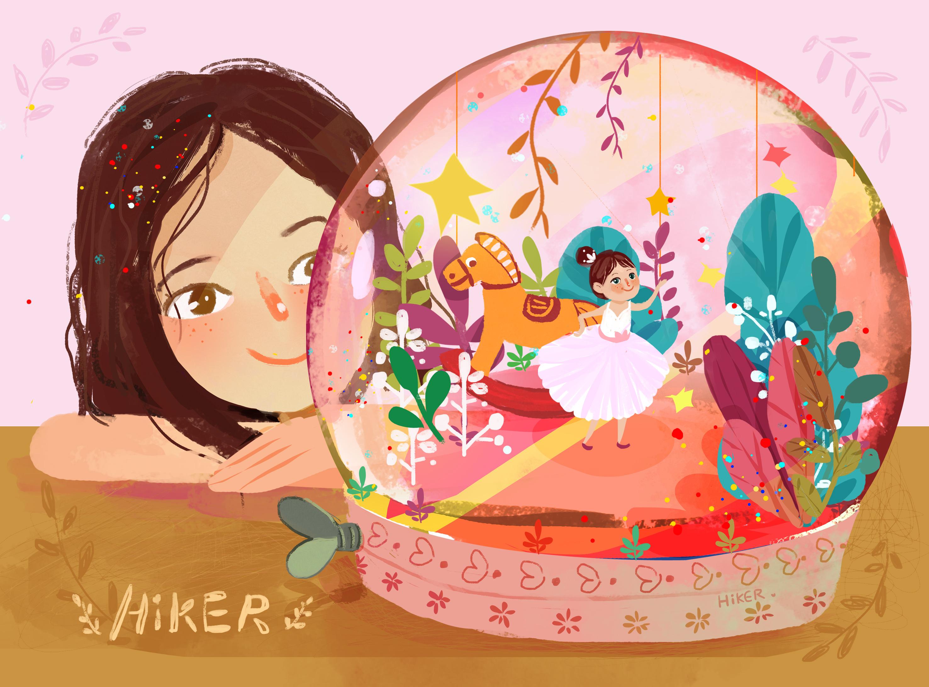 旋转在水晶球里的女孩图片