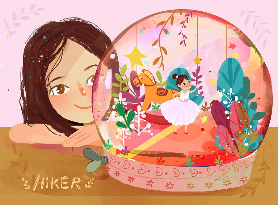 旋转在水晶球里的女孩 绘画习作 插画 韩清儿haidi