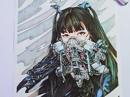 机械少女COS马克笔照片绘画
