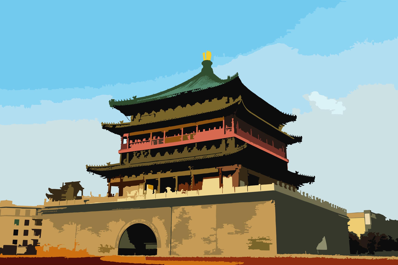 古城钟楼水彩画-西安古城-西安钟楼