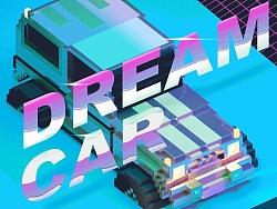 3D pixel vaperwave car/3d像素车/蒸汽波