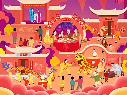 2019年乙亥猪年春节插画年历月历日历台历挂历