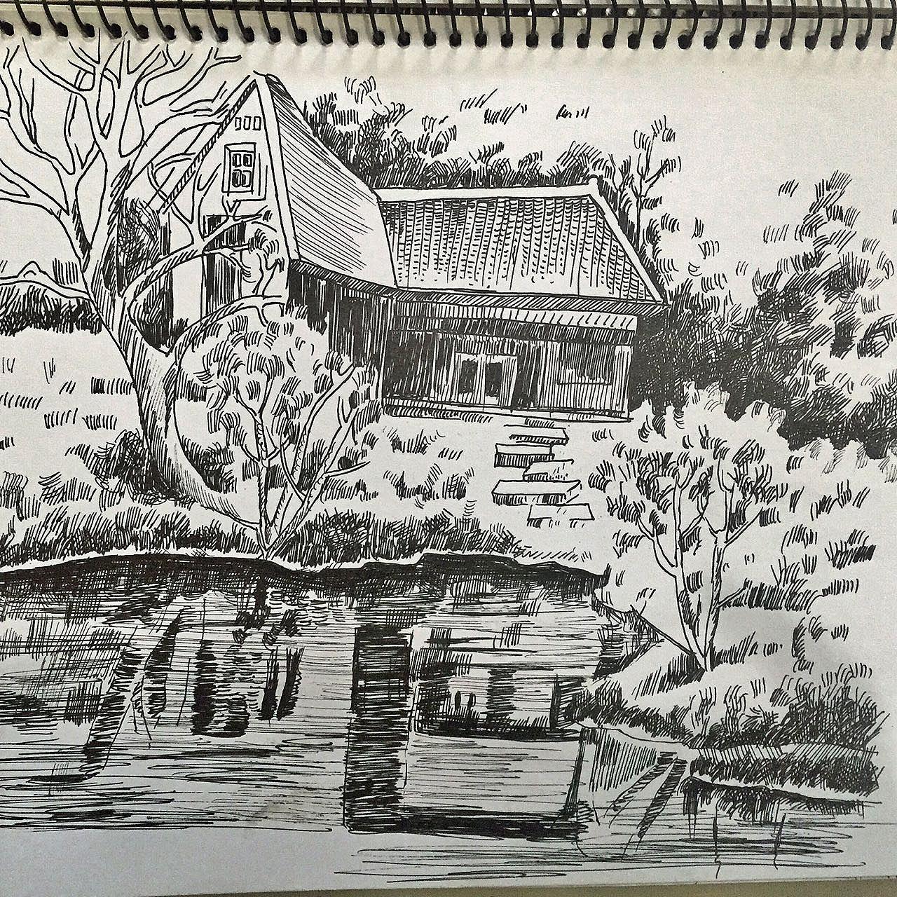 手绘-钢笔风景速写