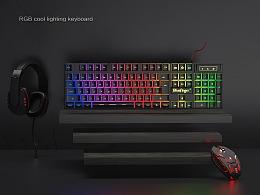 3C键盘鼠标耳机建模渲染场景图