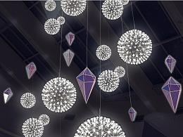 大型商场中庭亮化LED火花球吊灯工厂铭星专注商业灯光
