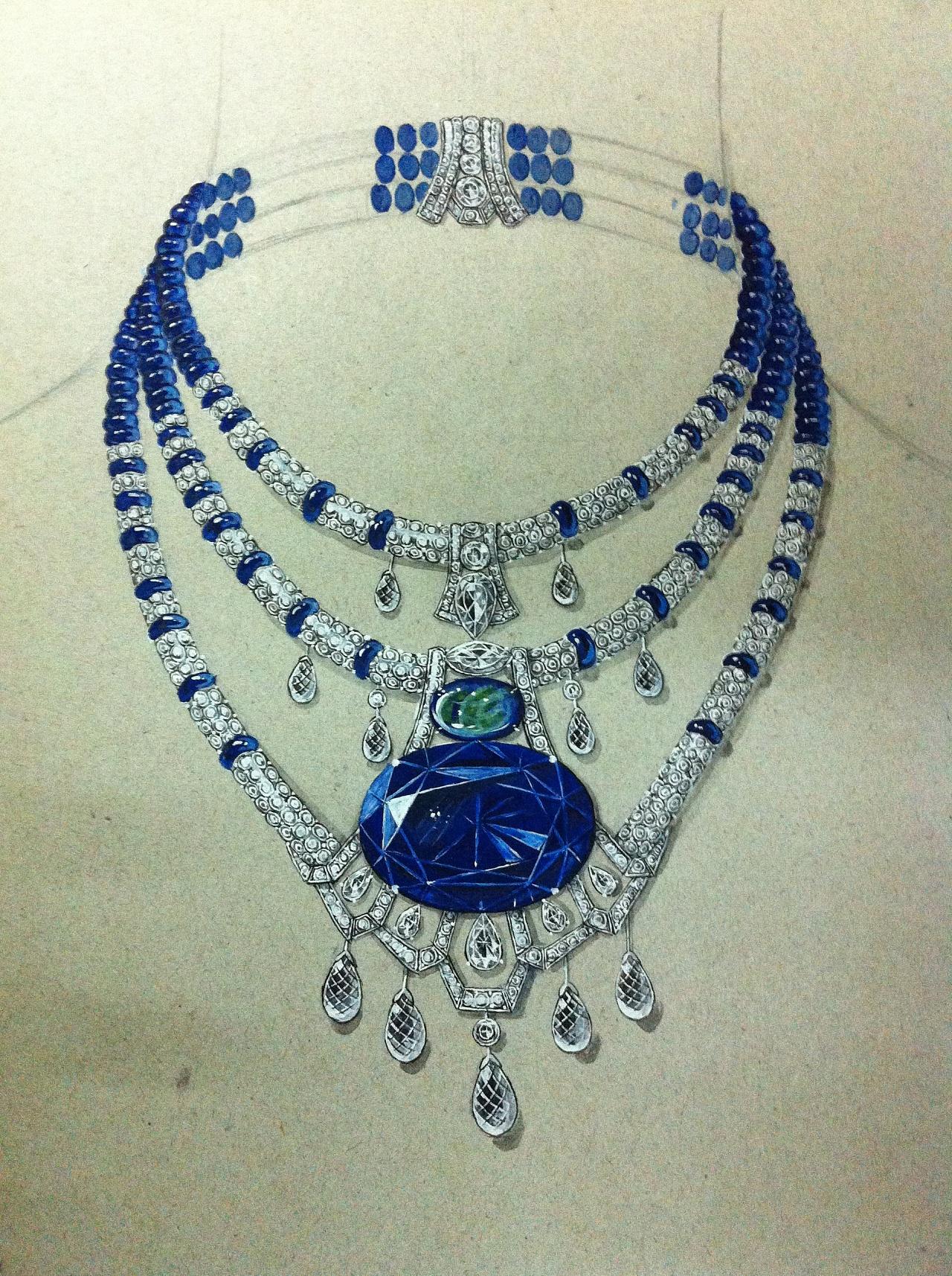 珠宝手绘珠宝展示图