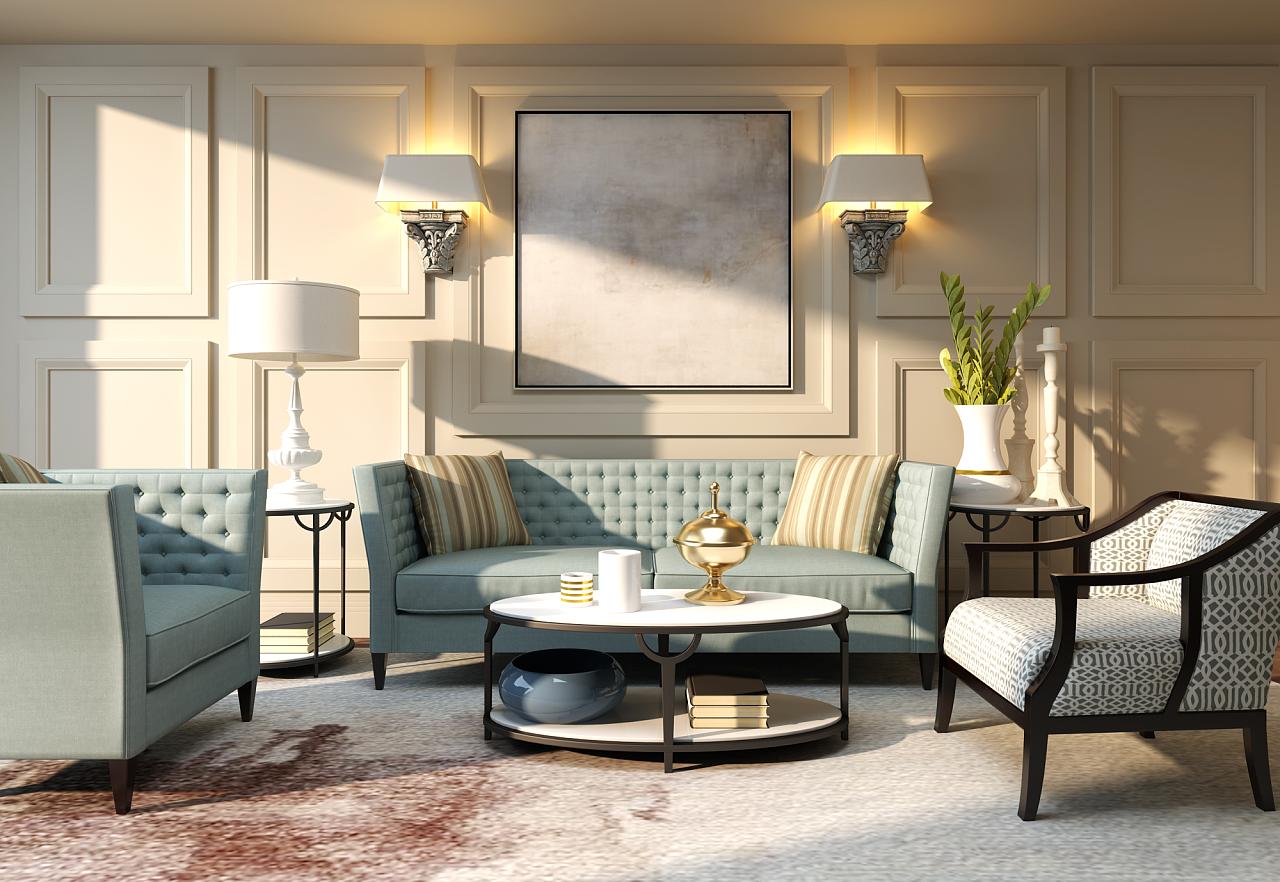 新美式空间效果图,美在a空间里 客厅 室内设计 建wps绘制飞行棋图片