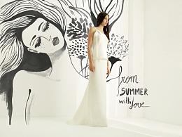 Lara Costafreda为著名婚纱品牌推广创作大型壁画