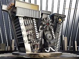 C4D金属机械文字小场景
