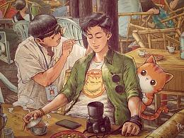 原创插画《带上橘猫去旅行》-成都