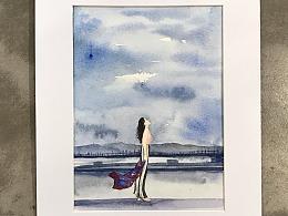 [ 水彩插画]我在仰望,有你的天空