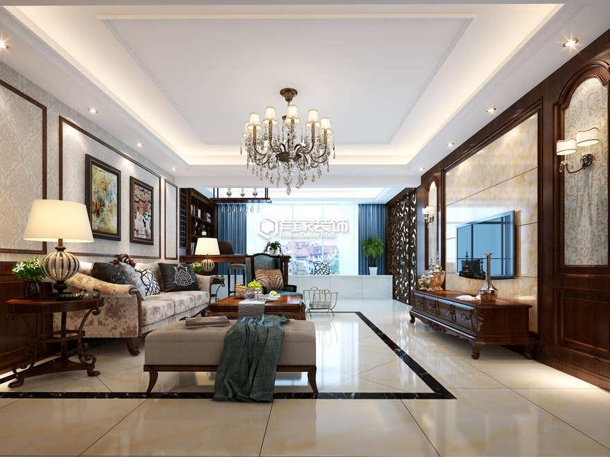 厦门山水庭院138平多居户型美式风格装修案例效果图