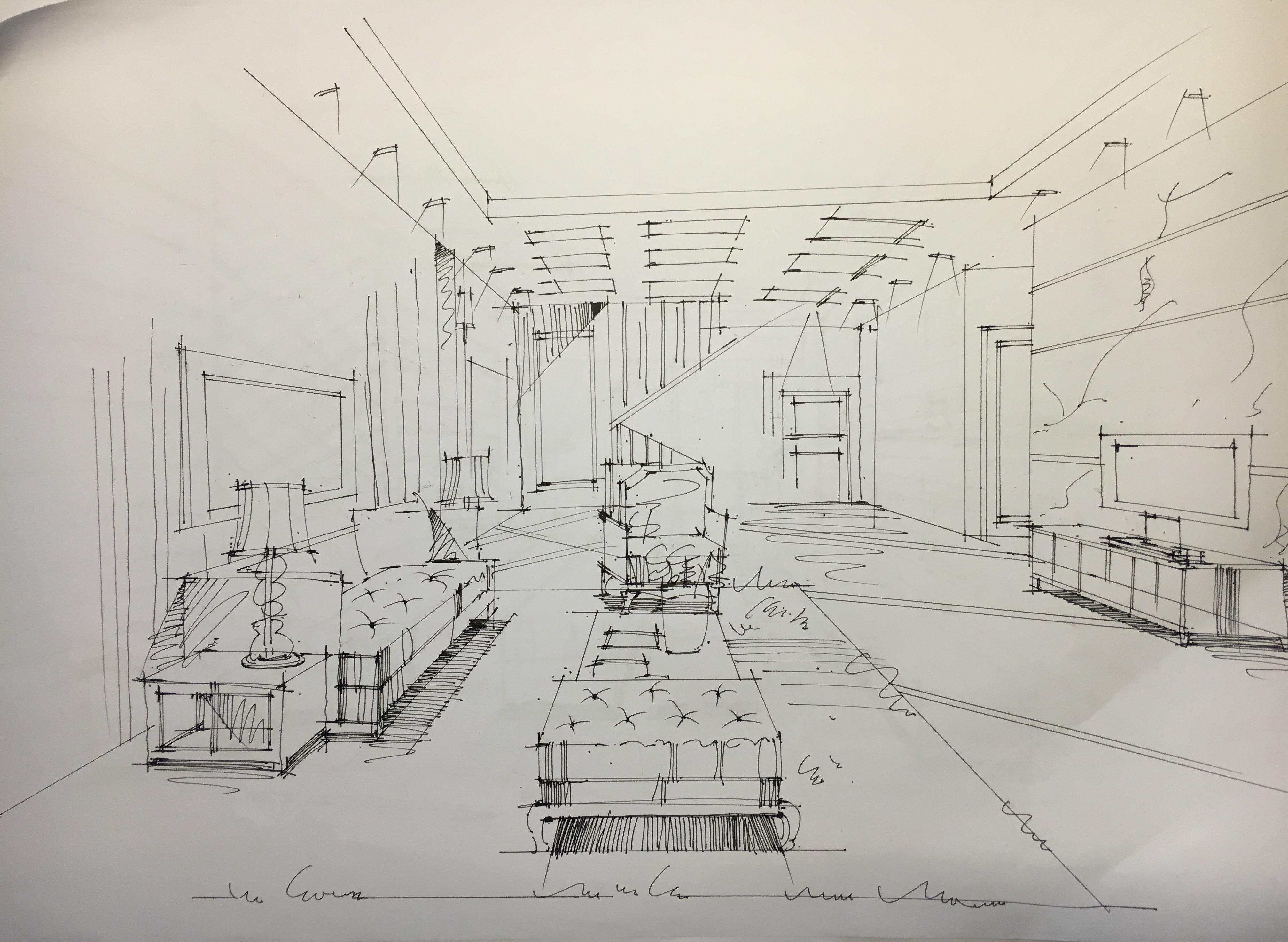 室内设计图手绘二点透视 图片大全  简单一点透视游园手绘图图片展示