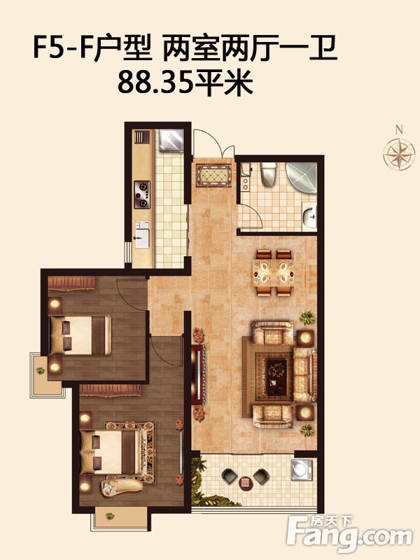 骚女做爱固f�_谈固瑞城5号楼f户型两室88.35平现代风格装修案例