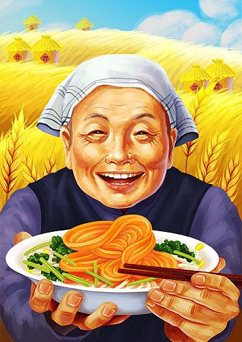 (娃他妈)ps手绘美食插画