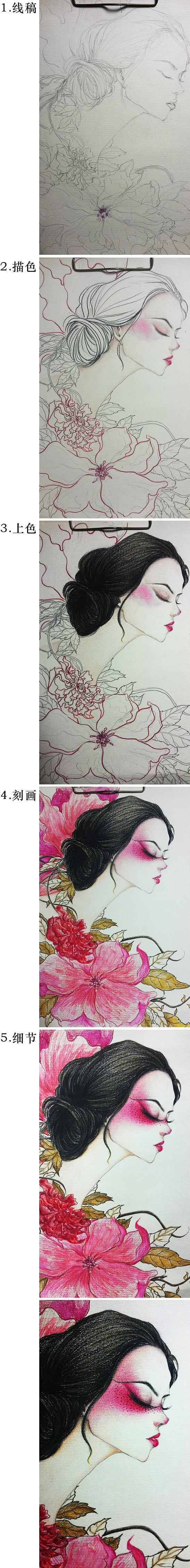 彩铅画·蔷薇妹子