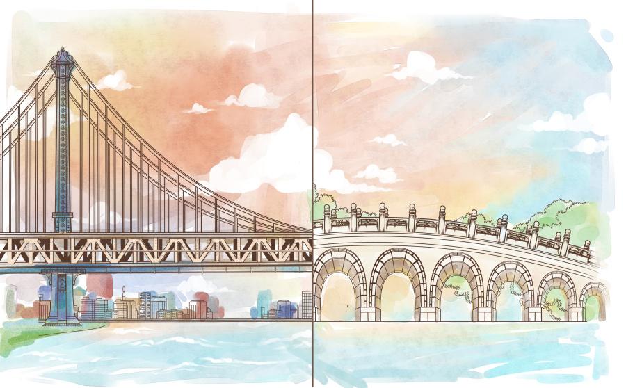 布鲁克林绘画和十七孔桥|大桥习作|插画|Sarloy托班教案有哪些图片