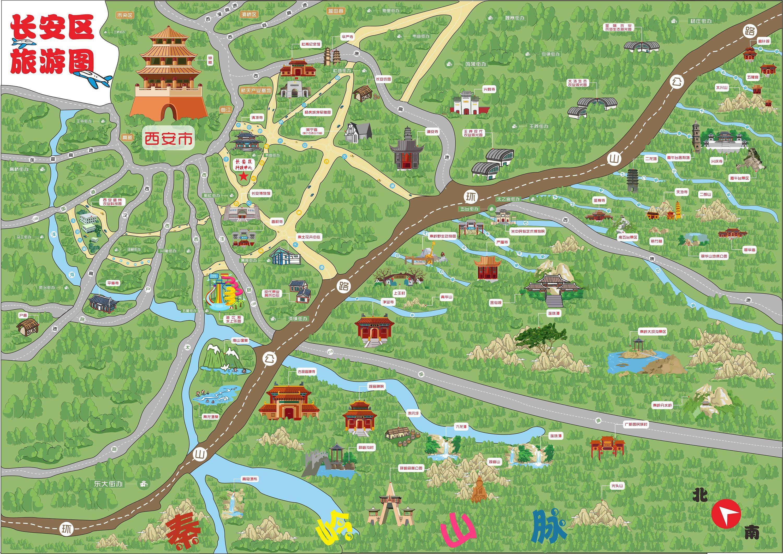长安手绘旅游地图