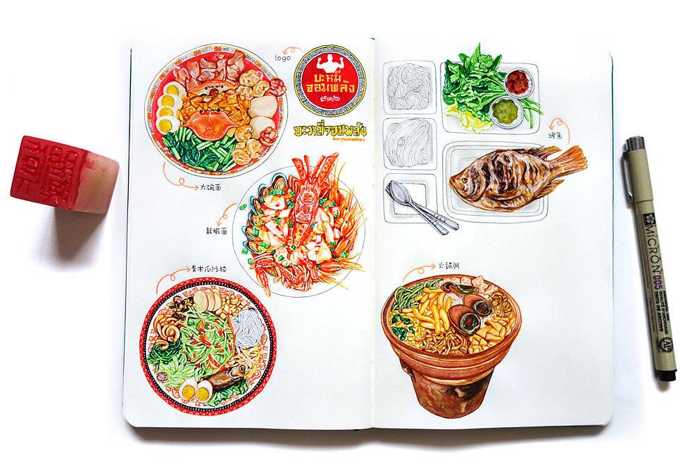 制作美食手绘模板
