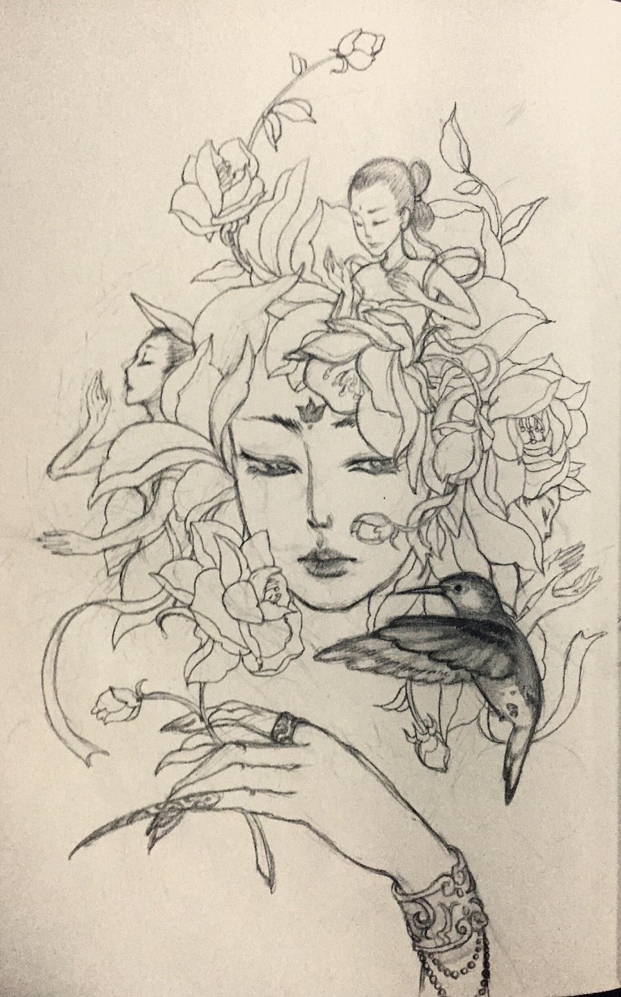 手绘练习-花妖