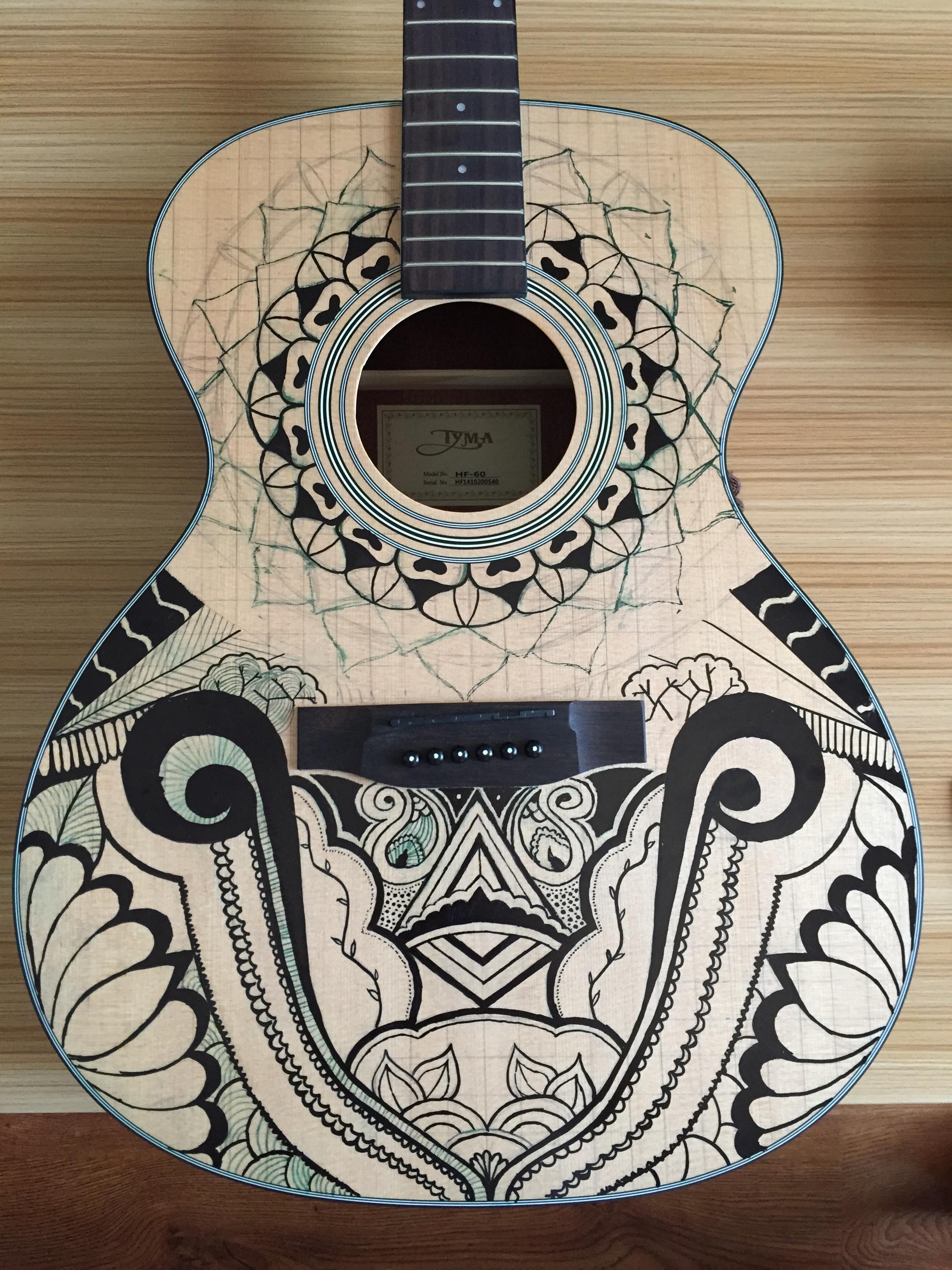 手绘 吉他 手工艺 工艺品设计 晏染与青岩 - 原创作品