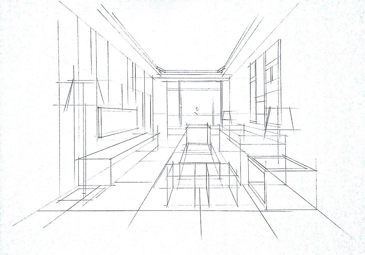 客厅空间一点透视黑白效果绘制步骤图.
