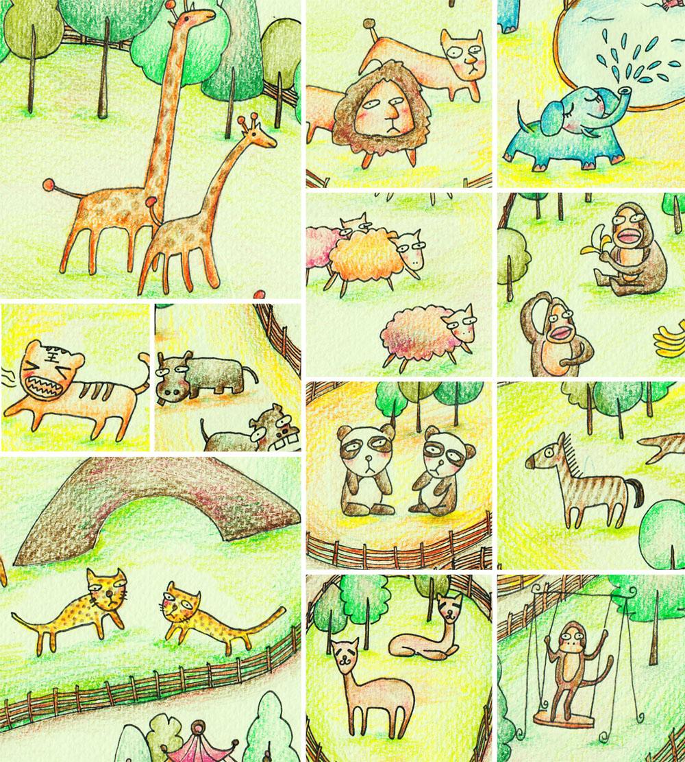 欢迎来到动物园≥▽≤|插画|儿童插画|烨子爱画画
