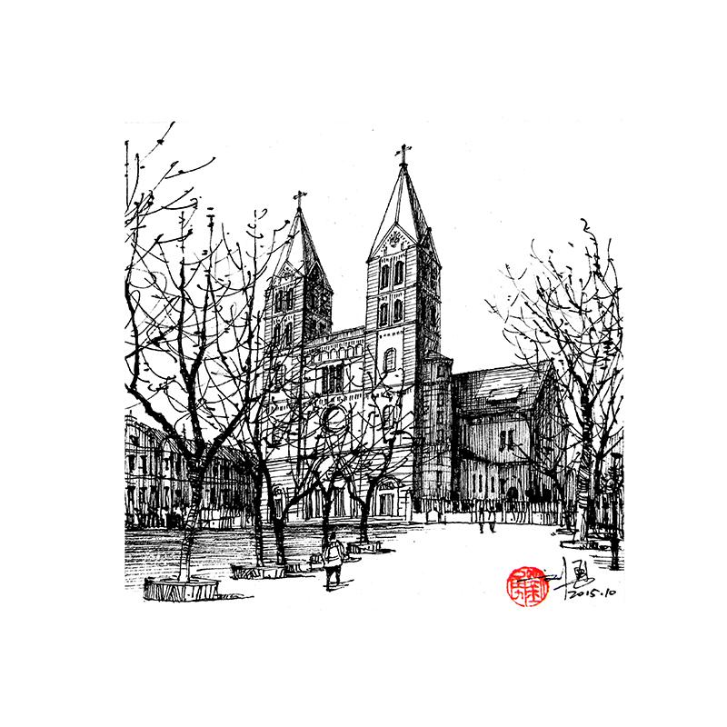 天津老建筑,钢笔手绘