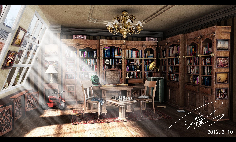 书房平行透视手绘
