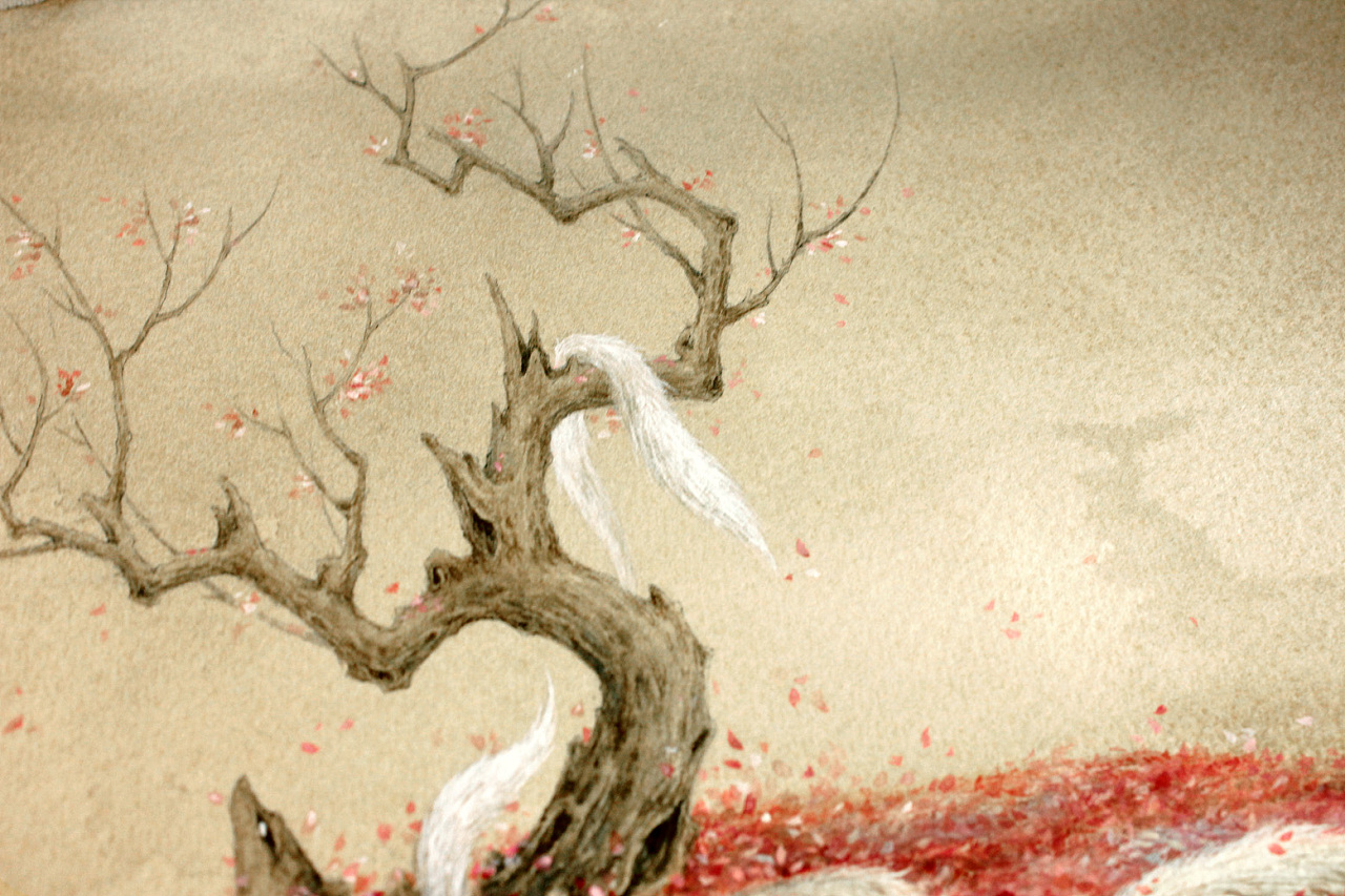 """""""青丘之山,有兽焉,其状如狐而九尾···""""涂山歌曰:""""绥绥白狐,九尾庞"""