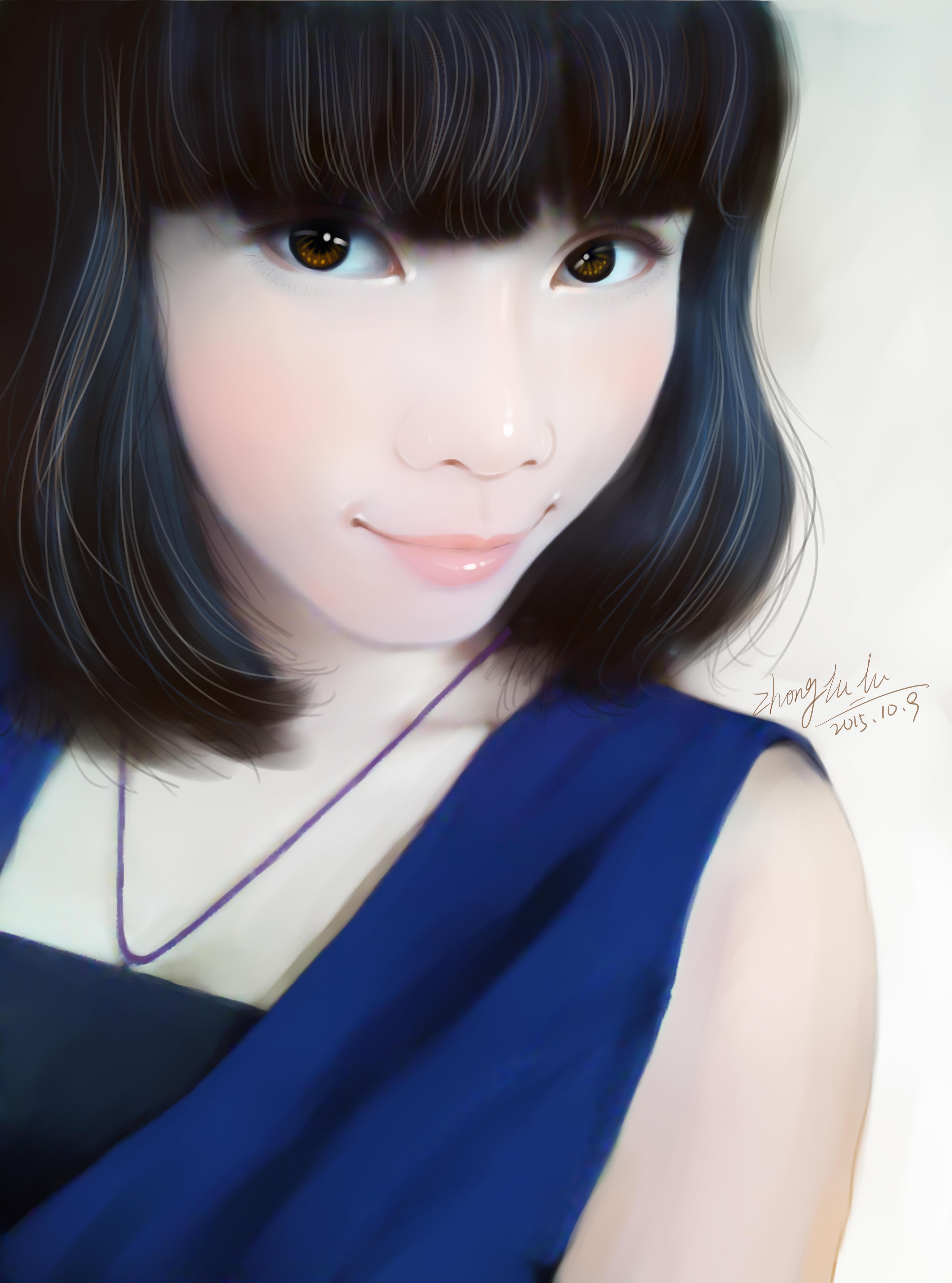 短发美女插画手绘