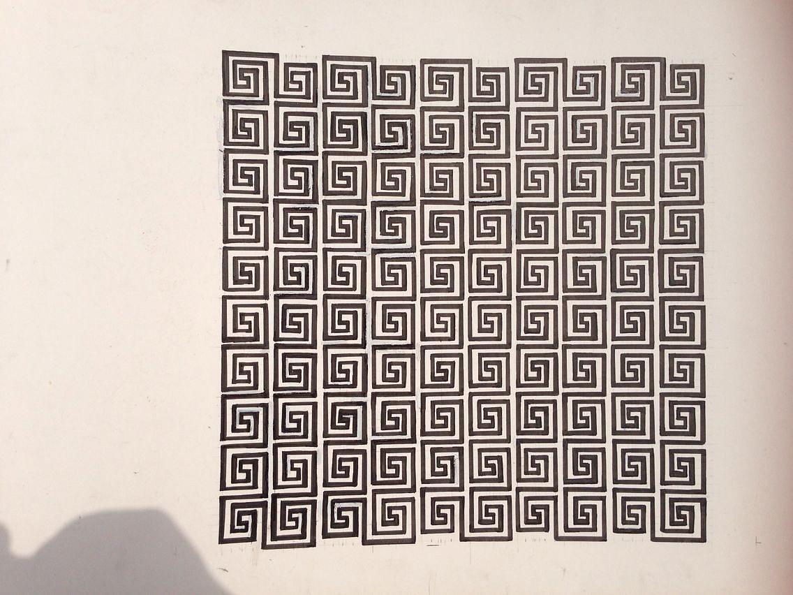 构成马赛克,色相对比,回形文,