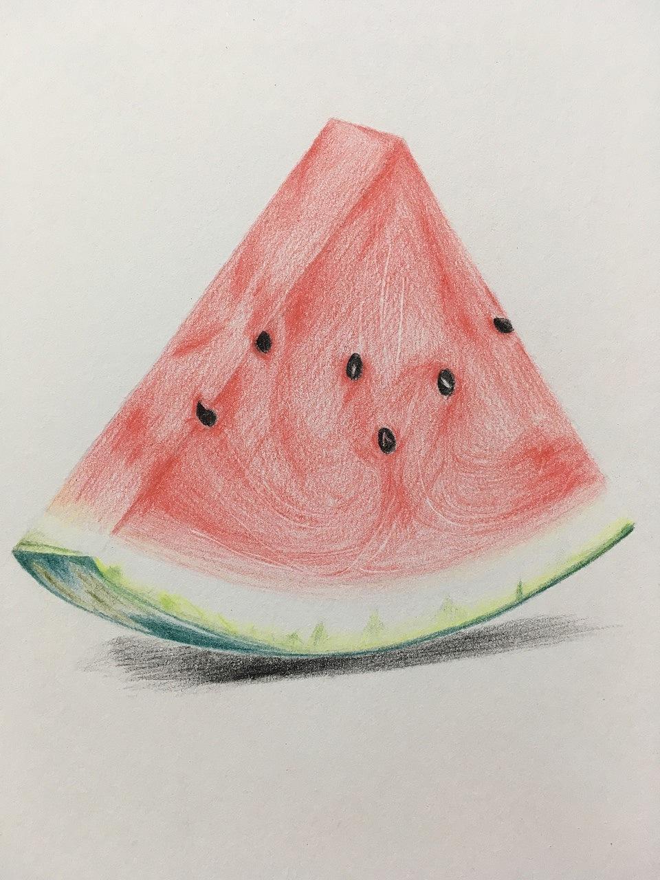 彩铅临摹,炎炎夏日,来一块清甜多汁的西瓜吧