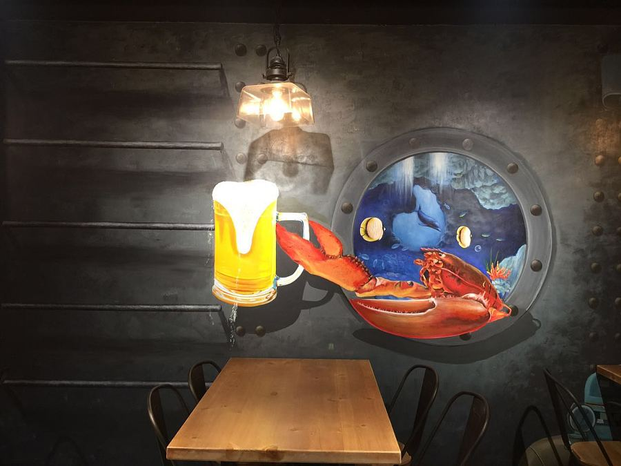 上海小龙虾餐厅墙绘系列纯手绘3d画作品