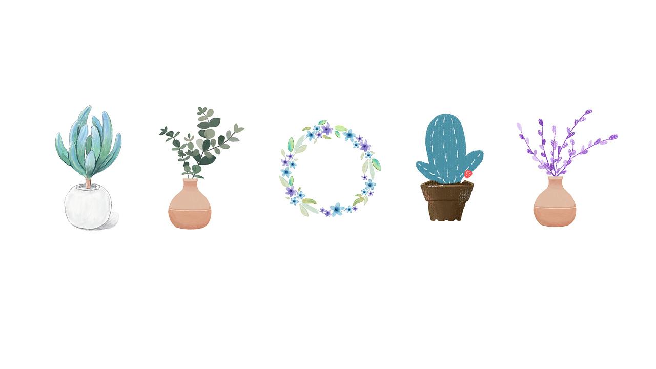 比较简单的植物画,主要是粉笔和水彩,大多是花瓣找的图临摹的,若侵权