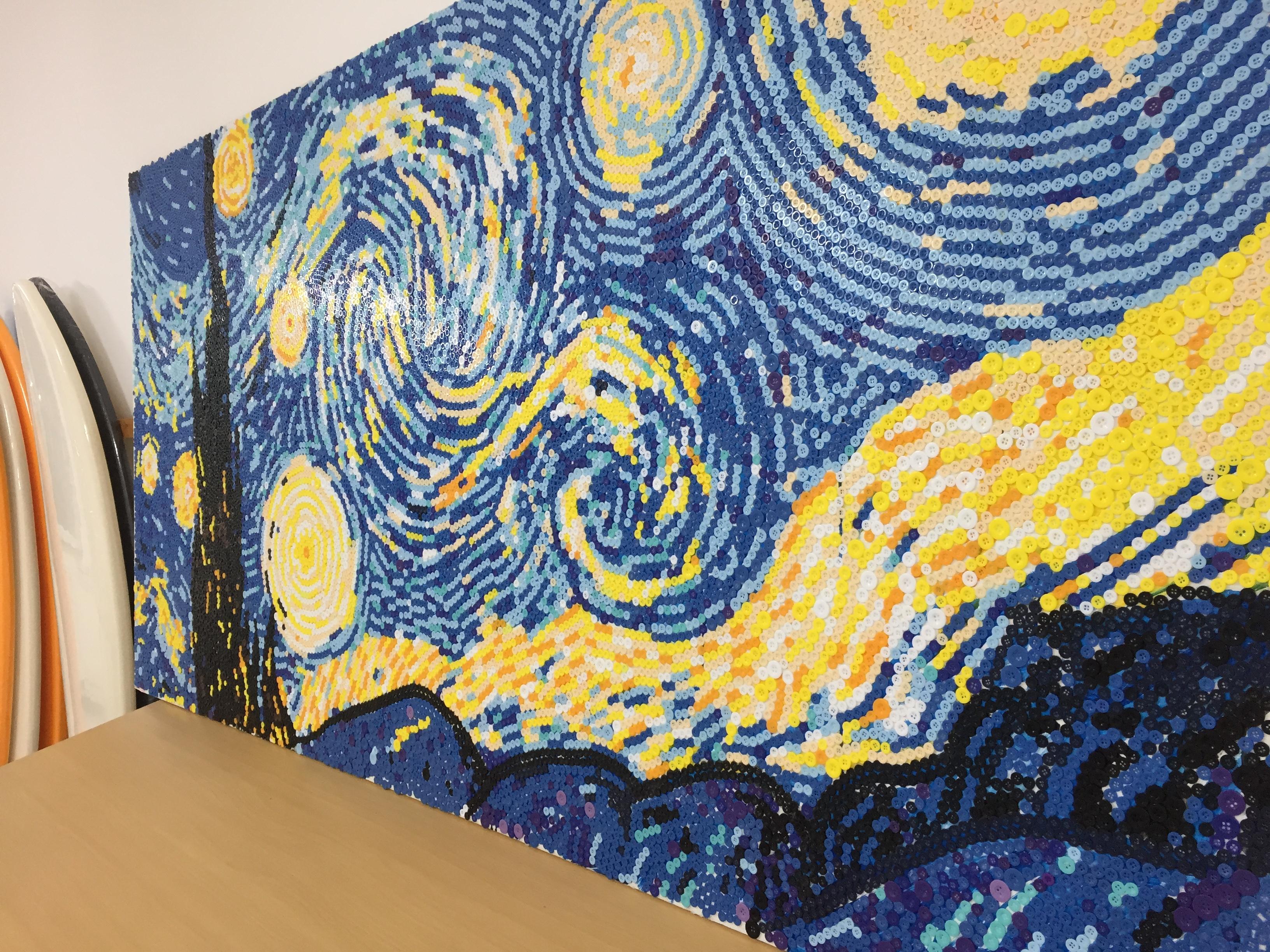 星月夜纽扣画作品|纯艺术|其他艺创|科恩1984 - 原创图片