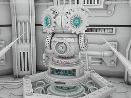 C4D机械场景-白膜渲染