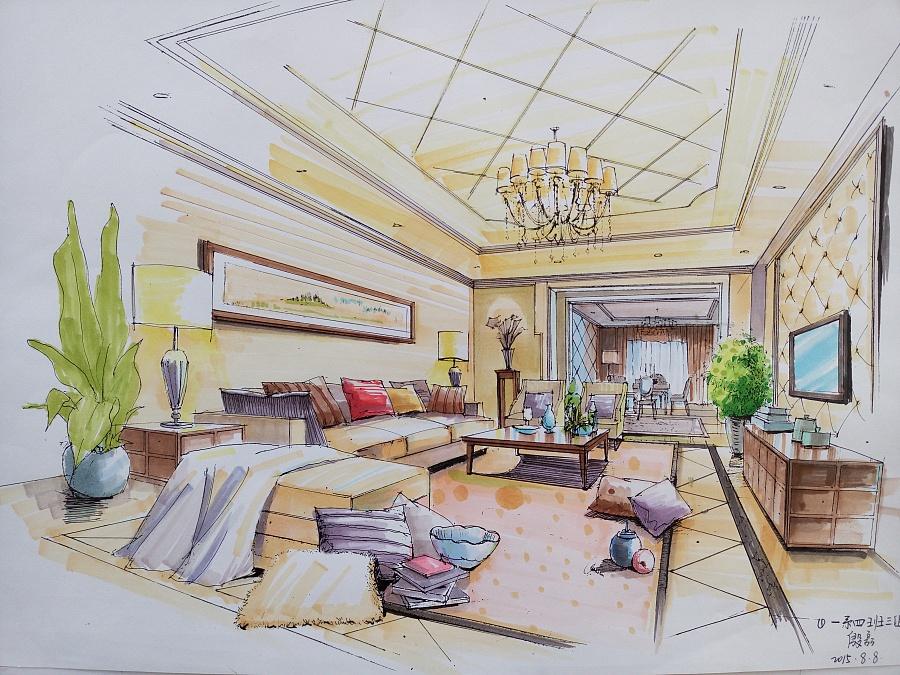 室内设计马克笔手绘|室内设计|空间/建筑|殷磊