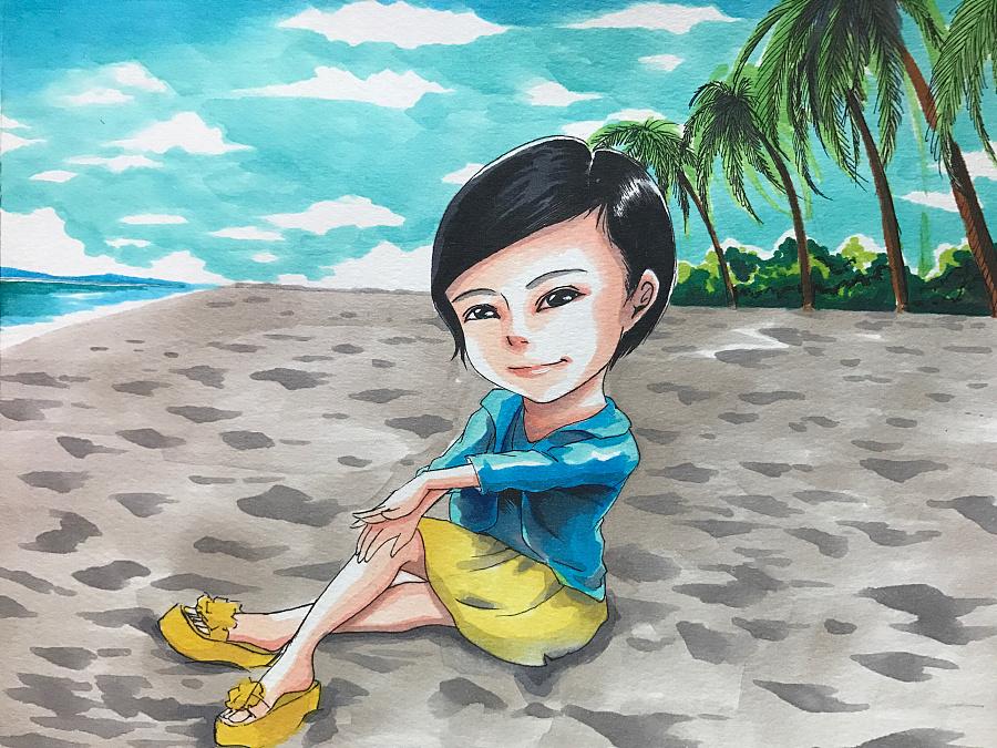马克笔手绘-海边|涂鸦/潮流|插画|秋山丶 - 原创设计