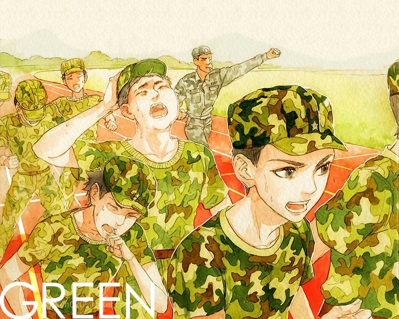 军训的手绘素材图片