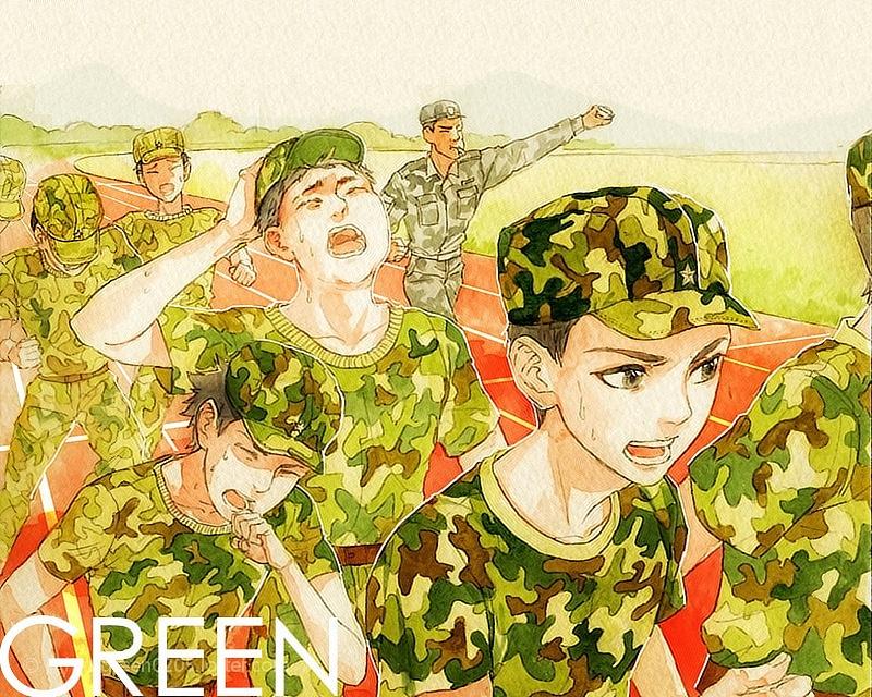 军训图片手绘 漫画