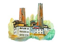 手绘中国民居建筑
